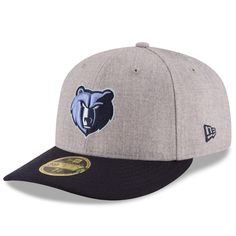 e2b6e178f3f Men s Memphis Grizzlies New Era Heathered Gray Navy Current Logo Change Up  Low Profile 59FIFTY Fitted Hat