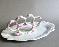 China Knuckles  Pink and Gold Floral Porcelain by TheBrokenPlate, $30.00
