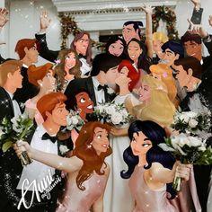 Disney Princesses And Princes, Disney Princess Drawings, Disney Princess Art, Disney Drawings, Disney Princess Weddings, Disney Princess Bridesmaids, Pocket Princesses, Disney Romance, Disney Amor