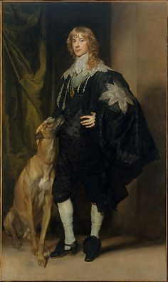 Anthony van Dyck (Flemish, 1599–1641). James Stuart (1612–1655), Duke of Richmond and Lennox, ca. 1634–35. The Metropolitan Museum of Art, New York. Marquand Collection, Gift of Henry G. Marquand, 1889 (89.15.16) #dogs
