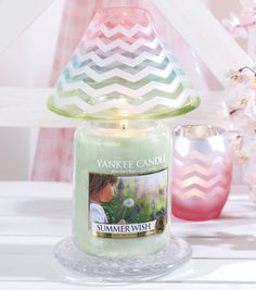 Our new Pastel Chevron Jar Candle Shade, to help brighten your home with the colors of the upcoming season. Click the photo to see it online