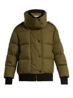 Burberry Funnel-collar quilted-down cotton jacket