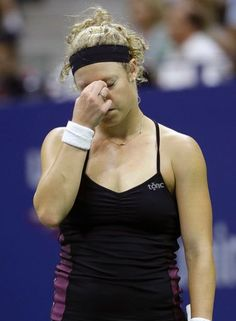 Laura Siegemund, of Germany, reacts between points during a match against Venus Williams at the U.S. Open tennis tournament, Saturday, Sept. 3, 2016, in New York. (AP Photo/Julio Cortez)