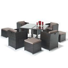 rattan garden cube set with footstools with up to discount on high street prices small and large sets available in black and brown rattan free uk del