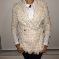 Blush and white chanel style jacket Donna sui Tweed cotton CHANEL Jackets & Coats Blazers