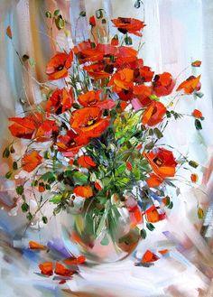 Poppies in Vase by artist Lyudmila Skripchenko♥•♥•♥