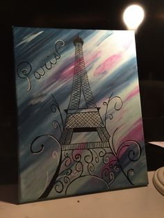 Eiffel Tower! Acrylic Paint. Black and White Paint Pen. Spa Blue, Violet, Light Navy.