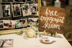 My wedding showcase booth! Free Engagement wooded sign www.ashleycookphotography.com