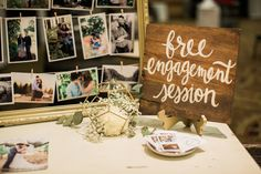 My wedding showcase booth! Free Engagement wooded sign www.ashleycookphotography.com