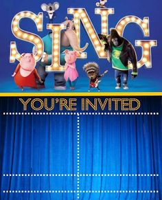free sing movie birthday party printable files kids parties free printable files pinterest. Black Bedroom Furniture Sets. Home Design Ideas