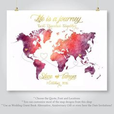 personalized map wedding guest book watercolor world map