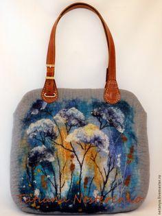 """Сумка """"Первый шаг в зиму"""" - серый,валяная сумка,сумка на каждый день,сумка на плечо"""