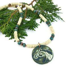 #Celtic #Horse #Pendant #Necklace Bone Emeralds Handmade Beaded #Jewelry By @shadowdog