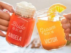 """Set of Personalized Wedding Party Mason Glasses • Choose a set of one, two, three, or four glasses • Material: Glass • Size: 5 1/4"""" x 2 1/2"""" • Choose from six fun designs • Customization options vary by design"""