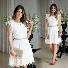 Casamento Civil: Como a Noiva Deve se Vestir? - Eventus Club Blanco White, Crochet Wedding Dresses, Lovely Dresses, Casual Looks, Dream Wedding, White Dress, Bridal, Outfit, Clothes