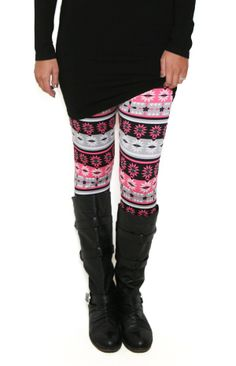 Flower Power Patterned Leggings: pink and black tribal style leggings so cute with tunics and sweaters