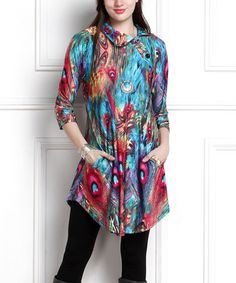 Look what I found on #zulily! Blue Peacock Shawl-Collar Pocket Tunic Dress - Plus Too #zulilyfinds