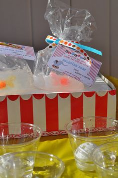 Goldfish prize at toss game. Make soap w/ plastic fish in it.