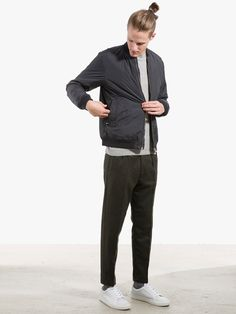 Bomber Jacket and Alpaca Jumper by Norse Projects Pants by ATF Clothing