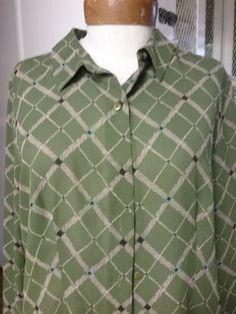 Hillard & Hansen Women's size M Olive green & black design dress sheer shirt #HillardHandson #ButtonDownShirt #Career
