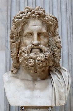 "Zeus (Jupiter)   Son of Cronos (Saturn) and Rhea. He defeated Cronos (Saturn) in a battle and then divided the realms with his brothers by lot, getting the heavens for his own. He was ruler and judge, the arbiter of disputes among Gods and men. His decisions were just and well balanced, showing no favoritism. He had several wives and many lover's, earning the title ""all father"" or ""father god"". His infidelity caused much strife on Olympos and in the world through he raging of his wife, Hera."