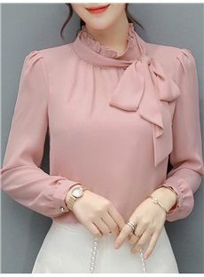 Elegant temperament lady round neck flare sleeve openwork mesh ladies blouse - Stand Color Bowknot Bowtie Sash Ornament Solid Color Long Sleeve Women& Blouse Best Picture F - Long Blouse Outfit, Bluse Outfit, Muslim Fashion, Hijab Fashion, Korean Fashion, Fashion Dresses, Blouse Styles, Blouse Designs, Sleeves Designs For Dresses