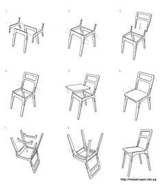 Схема сборки стула из фанеры