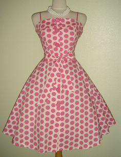 Darling 50s Inspired Pink Polka Dot Shirtwaisted Full Skirt Sundress Free US Shipping