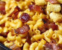 Jack Daniel's Smoky Bacon Mac and Cheese -- Jack Daniel's Mac and Cheese recipe loaded with hickory smoked peppered bacon, tons of ooey gooey smoky cheese and a selection of spices to wake up all your senses. This is the mac and cheese of your dreams. Bacon Mac And Cheese, Macaroni Cheese, Fancy Mac And Cheese, Bacon Bacon, Turkey Bacon, Loaded Mac And Cheese Recipe, Ultimate Mac And Cheese, Roasted Bacon, Bacon Waffles