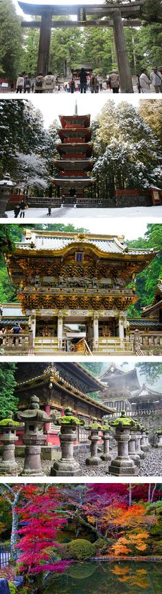 The main shrine of Nikko is the complex of temples of Tosho-gu , built in 1634 by Tokugawa Iemitsu (1603-1651) in honor of his grandfather Ieyasu to show others daimyo (feudal lords) the power of the Tokugawa shogunate. the construction attended by about 15,000 craftsmen from all over Japan, who worked tirelessly for two years forging what is perhaps the most beautiful temple in the country.  The entrance to the temple Tosho-gu is camped by a huge torii of granite. stands a five-story pagoda
