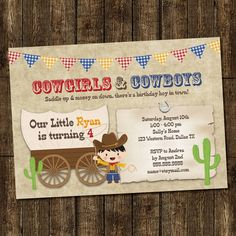 Cowgirl & Cowboy Birthday Party Invitation Digital Printable, Boy or Girl, ANY color ANY wording