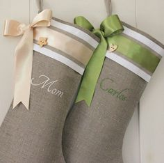Christmas stockings Personalized burlap linen by KatysHomeDesigns Embroidered Christmas Stockings, Burlap Stockings, Holiday Fun, Christmas Holidays, Christmas Crafts, Xmas, Christmas Wrapping, Holiday Ideas, Christmas Ideas