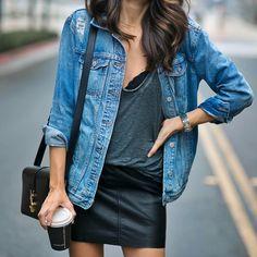 Jean jacket and black leather mini skirt