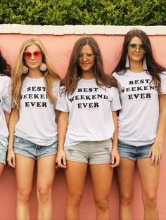 Great t shirt for a hen party which you can wear again afterwards! Bachelorette Party Shirts, Bachelorette Weekend, Bride Shirts, Best Friend Wedding, Camp Wedding, Wedding Ideas, Bridal Shower, Hen Tshirts, Mullets