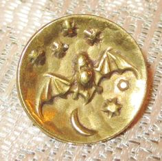 Antique Victorian Metal Picture Button - One-Piece Cupped Brass BAT MOON & STARS