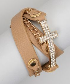 Take a look at this Brown Faux Leather Cross Wrap Cuff by RUSH by Denis & Charles on #zulily today!