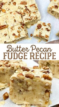 Butter pecan fudge is a rich buttery, creamy fudge that is amazingly decadent and the perfect gift for the holidays. Peanut Recipes, Fudge Recipes, Best Dessert Recipes, Candy Recipes, Just Desserts, Cookie Recipes, Delicious Desserts, Holiday Baking, Christmas Desserts