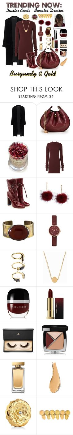 """Burgundy and Gold Sweater Dress"" by jes4me530 on Polyvore featuring Jadicted, Marc Jacobs, Lola's Apothecary, Cotton Citizen, Malone Souliers, Orduna Design, Skagen, Noir Jewelry, Minnie Grace and Post-It"