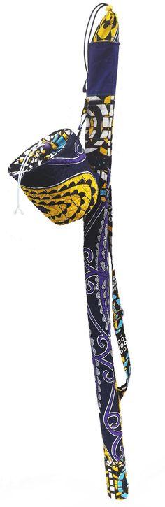 Capoeira Berimbau Case with detachable Gourd Case, West African prints, Genuine VLISCO Fabrics