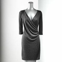 Simply Vera Vera Wang Faux-Wrap Sweaterdress