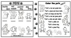 UNIT-8 (PETS) - Bilgeceingilizce Color Unit, 2nd Grade Worksheets, Action Verbs, English Lessons For Kids, Animal Habitats, Cool Pets, Zoo Animals, Learn English, Vocabulary