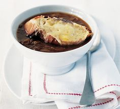 French onion soup with cheese on toast - perfect lunch.