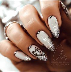 Elegant Nails, Stylish Nails, Fancy Nails, Pretty Nails, Milky Nails, Silver Nail Designs, Nagellack Design, Luxury Nails, Best Acrylic Nails