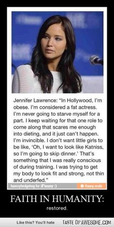Important! Katniss was meant to be thin to the point of emaciation (in the books at least), but instead Jennifer made her fit and strong. (Not sure if I can put this in The Hunger Games but.. ehh)