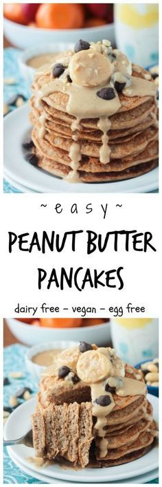 Peanut Butter Pancakes - vegan | dairy free | spelt flour | breakfast | brunch | egg free | soy free | quick and easy | kid friendly |