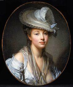 Greuze, Jean Baptiste (1725-1805) - 1780 The White Hat (Museum of Fine Arts, Boston, USA)