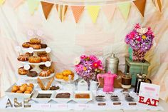 donut party {Alice Koswara/Tinywater Photography & Botanica Floral via Somewhere Splendid}