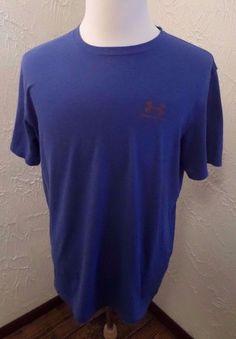 Men's Under Armour Heat Gear Loose Fit Tee Blue Sz LARGE EUC