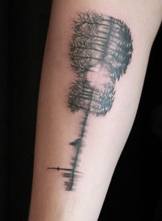 This is shawn new/ first tattoo !!!  I love it !! He said that the sound waves are a recording of his parents saying 'i love you' plus its a guitar and trees to represent his home !!! Congrats shawn! I love it❤❤❤❤