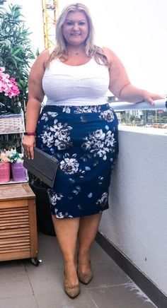 Lace Trim Cotton Spandex Thong Blue - Plus Size Skirts - Ideas of Plus Size Skirts - Plus Size Fashion for Women I can see myself rocking this wit a diff pair of shoes and clutch Plus Size Skirts, Plus Size Jeans, Plus Size Outfits, Plus Size Fashion For Women, Plus Size Womens Clothing, Clothes For Women, Trendy Clothing, Big Girl Clothes, Gothic Clothing